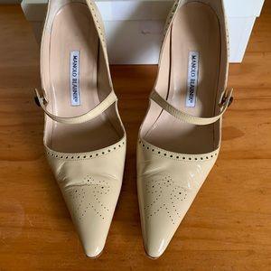 Manolo Blahnik tan Mary Jane heels